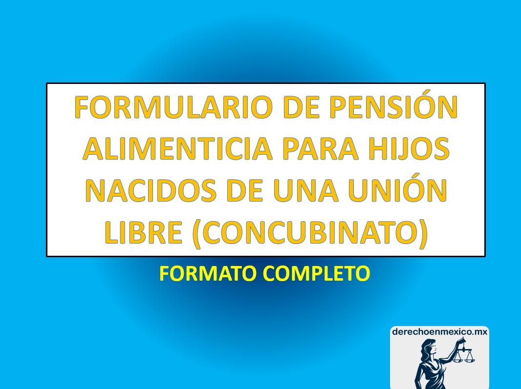 FORMULARIO DE PENSIÓN ALIMENTICIA PARA HIJOS NACIDOS DE UNA UNIÓN ...