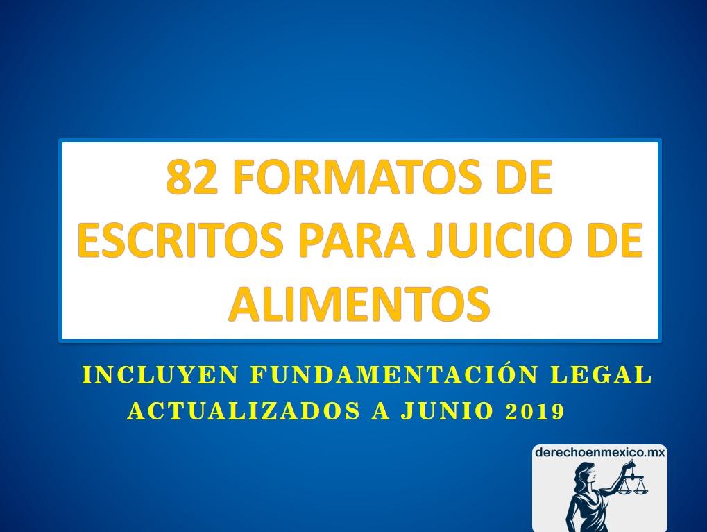 82 FORMATOS DE ESCRITOS PARA JUICIO DE ALIMENTOS