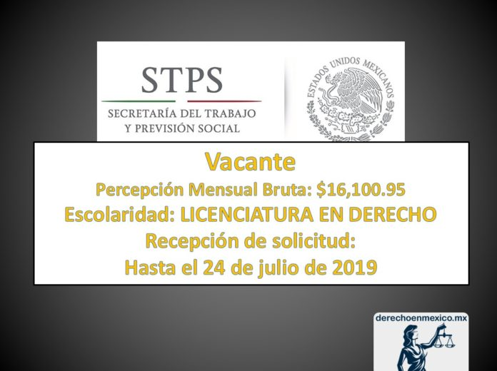 Vacante en Secretaría del Trabajo y Previsión Social
