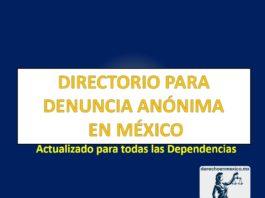 DIRECTORIO PARA DENUNCIA ANÓNIMA EN MÉXICO