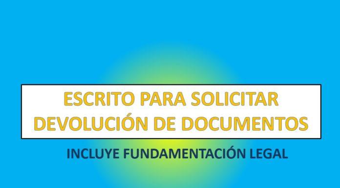ESCRITO PARA SOLICITAR DEVOLUCIÓN DE DOCUMENTOS