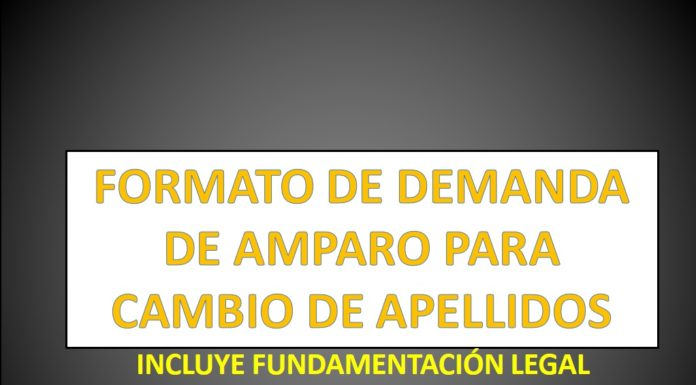 FORMATO DE DEMANDA DE AMPARO PARA CAMBIO DE APELLIDOS