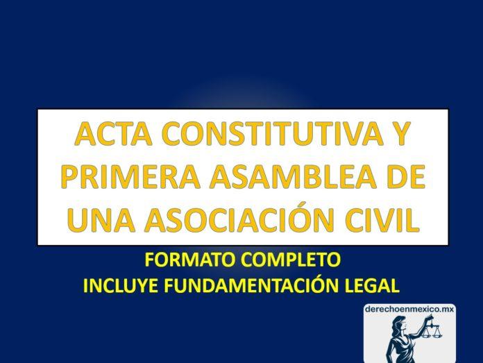 ACTA CONSTITUTIVA Y PRIMERA ASAMBLEA DE UNA ASOCIACIÓN CIVIL