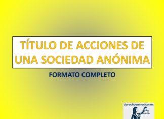 TÍTULO DE ACCIONES DE UNA SOCIEDAD ANÓNIMA
