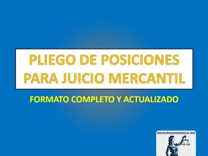 PLIEGO DE POSICIONES PARA JUICIO MERCANTIL